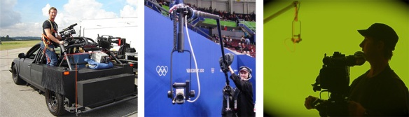 Peter filming from a vehicle, on location and the Olympics, and in-studio